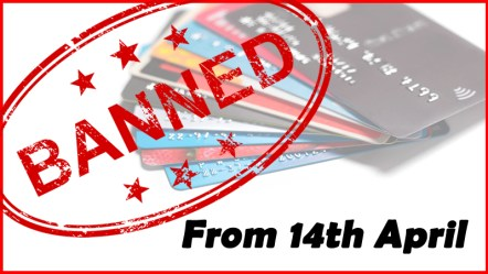 Gambling on Credit Cards will End on April 14th