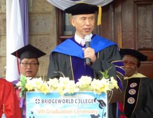 Rev. Dr. Lee, Principal, spoke. Behind him is Rev. Lee, Academic Dean.
