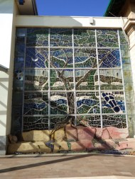 and the outside - huge stained glass art.
