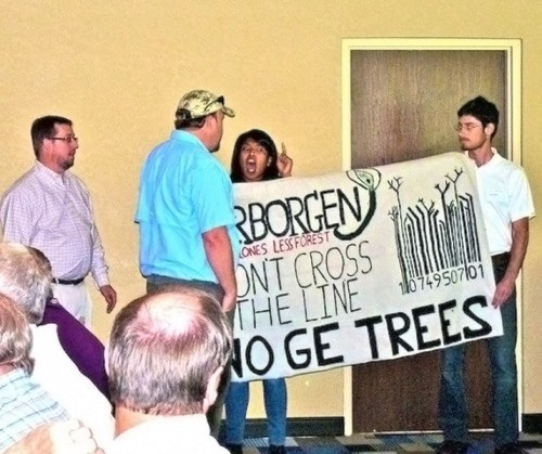 Protestors disrupt genetically engineered trees corporate event (2014).