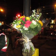 Bouquet of flowers placed by Stop Killing Cyclists near to where Marie Hitier-Abadie was killed. Our deepest condolences.