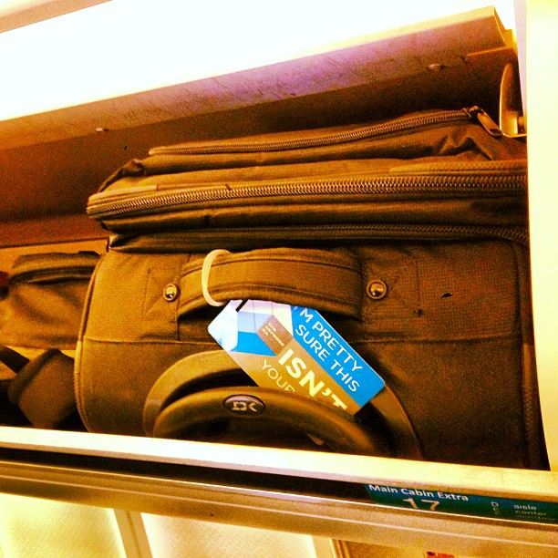 Pro travel tip #5: roller bags fit lengthwise in the overhead bins ... Not sideways