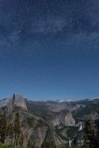 Half Dome with Nevada and Vernal Falls under the Milky Way from Glacier Point