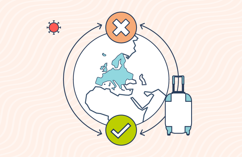 Icons illustrating the globe, a suitcase and a virus.