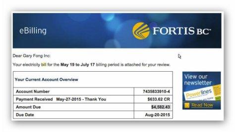 Fortis Billing to Gary Fong Inc
