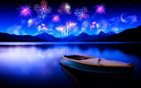 Happy NewYear - Lake and Boat