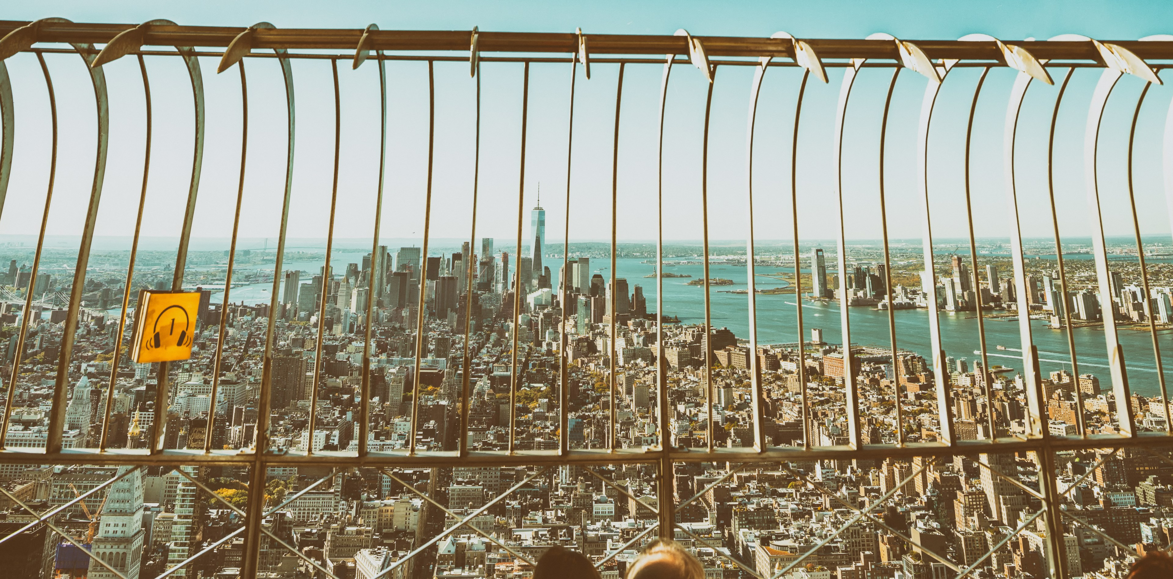 Metal fence barrier protecting an oberservation deck on the Empire State Building in New York City.