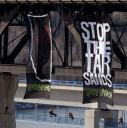 Greenpeace Banner Drop off the highlevel bridge