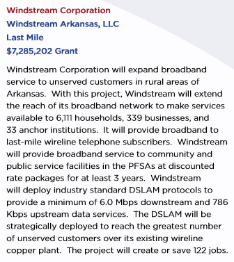 Windstream waited for the federal government to kick in $7.28 million in taxpayer dollars before it would agree to extend its DSL service to customers in its own home state of Arkansas.