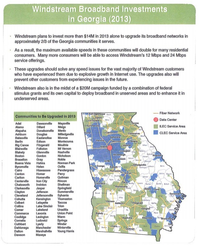 """The company released this map showing planned service upgrades for """"two-thirds of the communities it serves"""" in Georgia. But the company warned not everyone would receive improved service. For the remaining one-third, """"take it or leave it"""" broadband service will continue."""