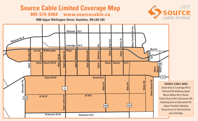 Source Cable's service coverage area is limited to a number of blocks in parts of Hamilton, Ont.