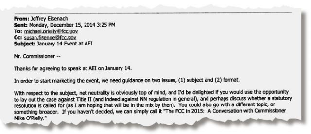 """New York Times: In a 2014 email, Mr. Eisenach encouraged Michael O'Rielly, a Republican F.C.C. commissioner, to use an American Enterprise Institute event to """"lay out the case against"""" internet regulations."""