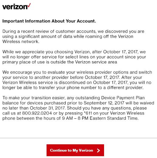 Verizon Wireless Pushes Customer To Upgrade Data Plan Before Closing