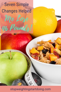 A bowl of cereal with cut-up fruit surounded by other whole fruits like apples and oranges. A tape measure surrounds it all. Seven simple changes helped me lose 46 pounds.