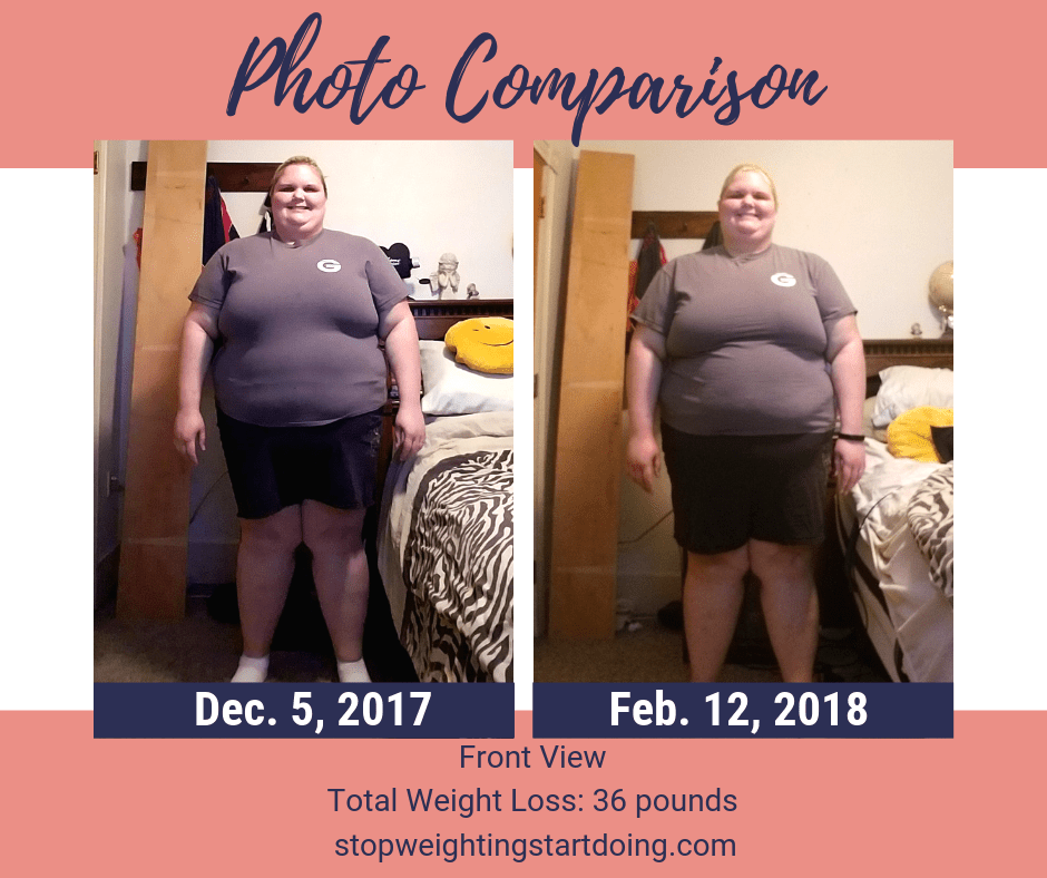 A comparison of my front from losing 36 pounds. A look at my 36-pound weight loss.