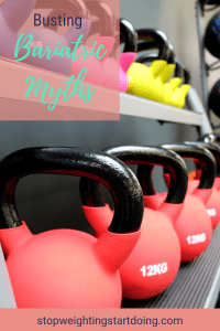 Pink and yellow kettlebells lined in a row. Busting Bariatric Myths.