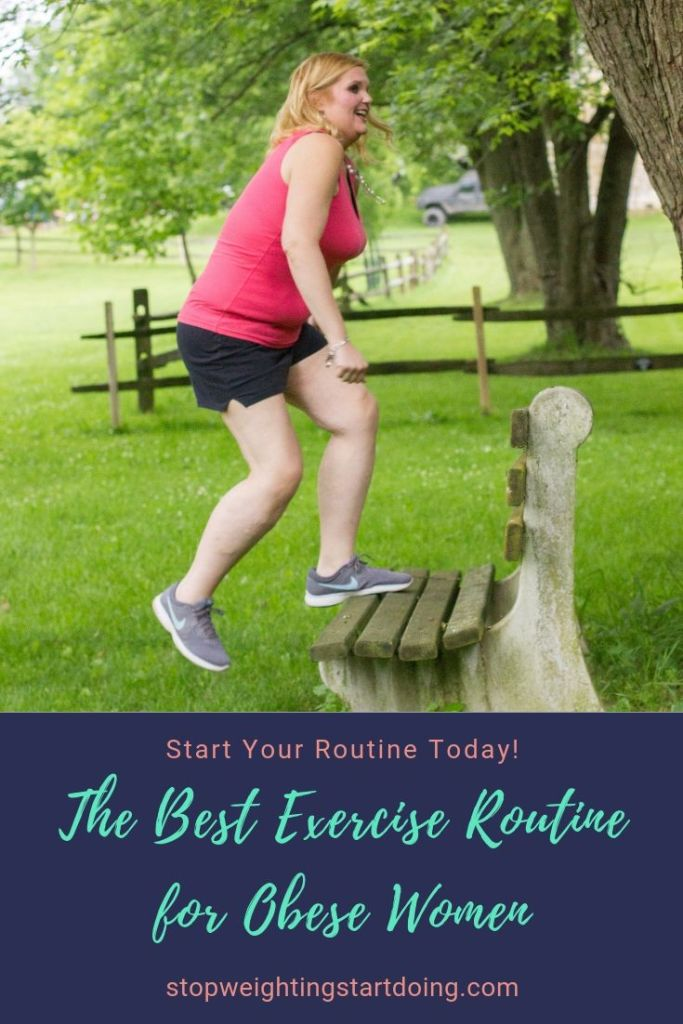 An obese woman stepping up on a park bench. The best exercise routine for obese women.