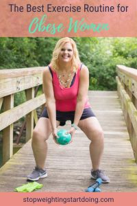 An obese woman doing a squat with a weighted ball. The best exercise routine for obese women.
