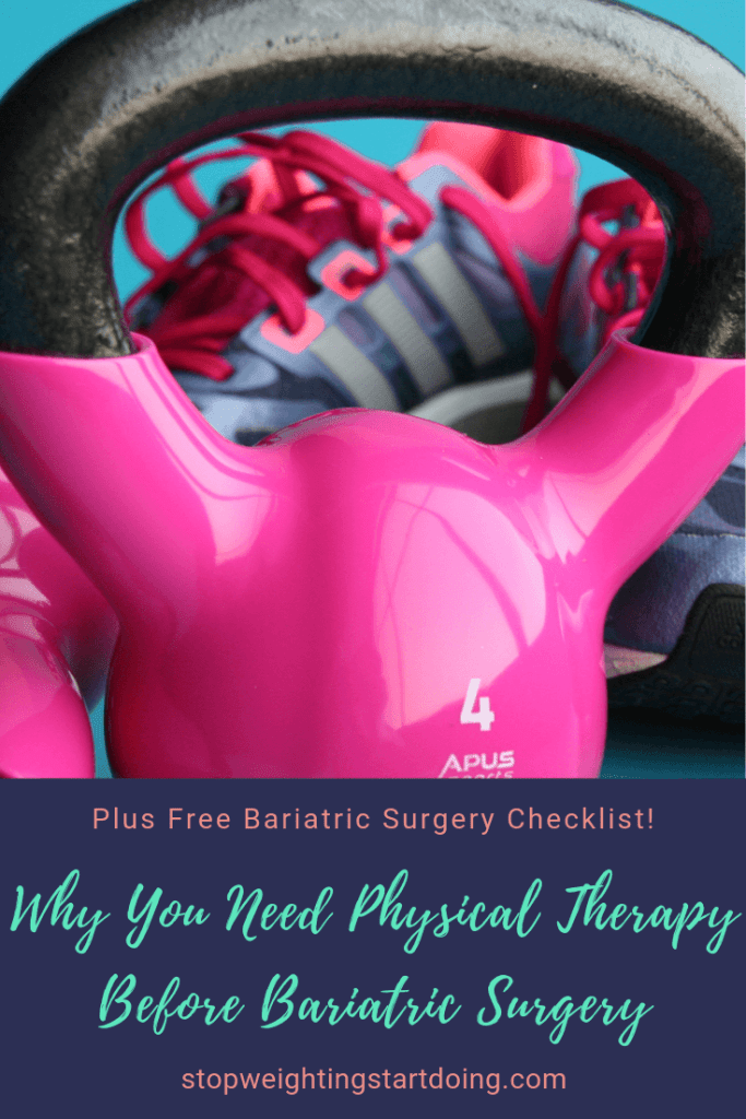 A hot pink kettlebell in front of a pair of sneakers. Why You Need Physical Therapy Before Bariatric Surgery | Better Recovery | Pinterest Graphic02