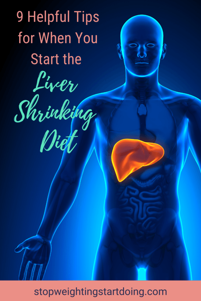 A graphic of a body with the liver highlighted in yellow and orange. 9 Helpful Tips for When You Start the Liver Shrinking Diet | It Gets Easier | Pinterest Graphic01