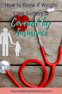A red stethoscope with a red fuzzy heart and white paper cutouts of people. How to Know if Weight Loss Surgery is Covered by Insurance | Your Guide | Pinterest Graphic