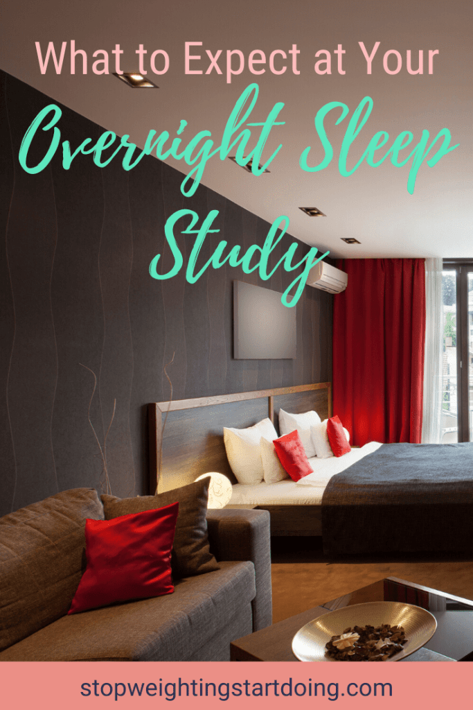 A bedroom with a brown couch and red pillows, brown walls, red curtains, and a bed. What to Expect at Your Overnight Sleep Study | Sleep Apnea Test | Pinterest Graphic | sleep apnea test, polysomnography, sleep study