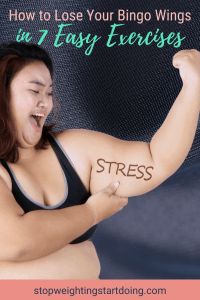 An obese Asian woman pulls down on the fat of her upper arm with the word STRESS written on it. | How to Lose Your Bingo Wings in 7 Easy Exercises | Image | what causes bingo wings, bingo wings gif, how to lose your bingo wings