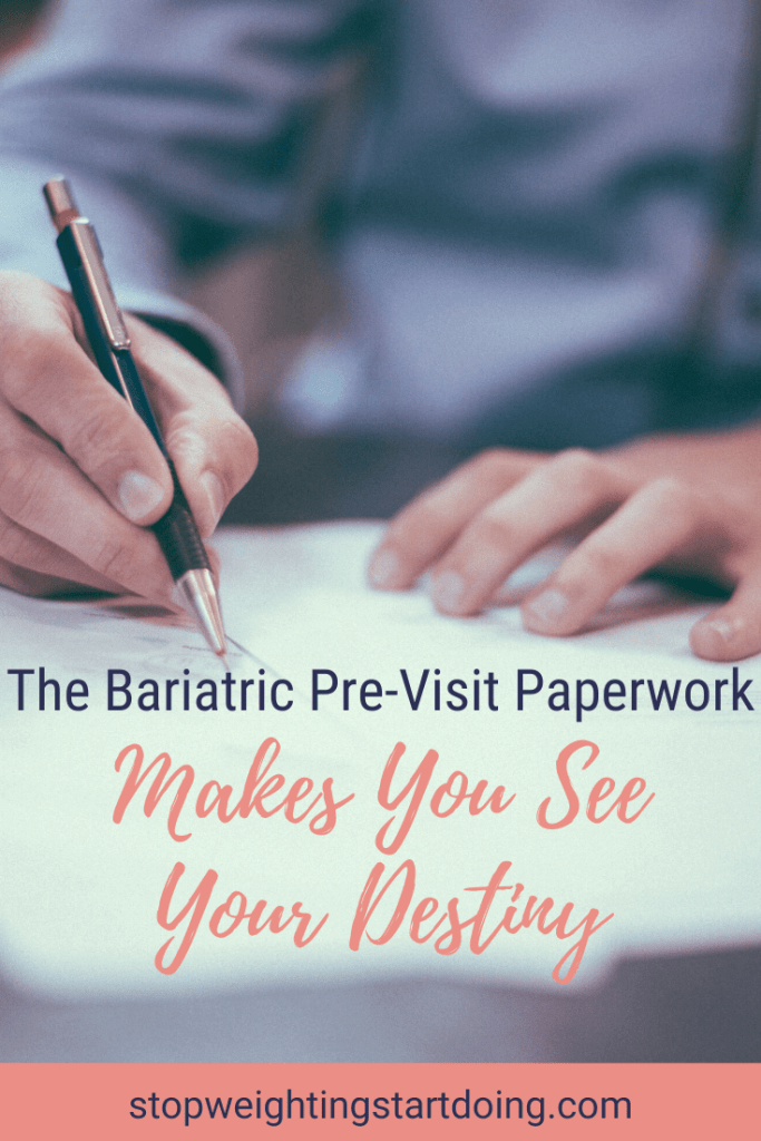 A woman writing down information in a pile of paperwork. The Bariatric Pre-Visit Paperwork Makes You See Your Destiny | Graphic | Bariatric surgery preop appointment, bariatric surgery timeline