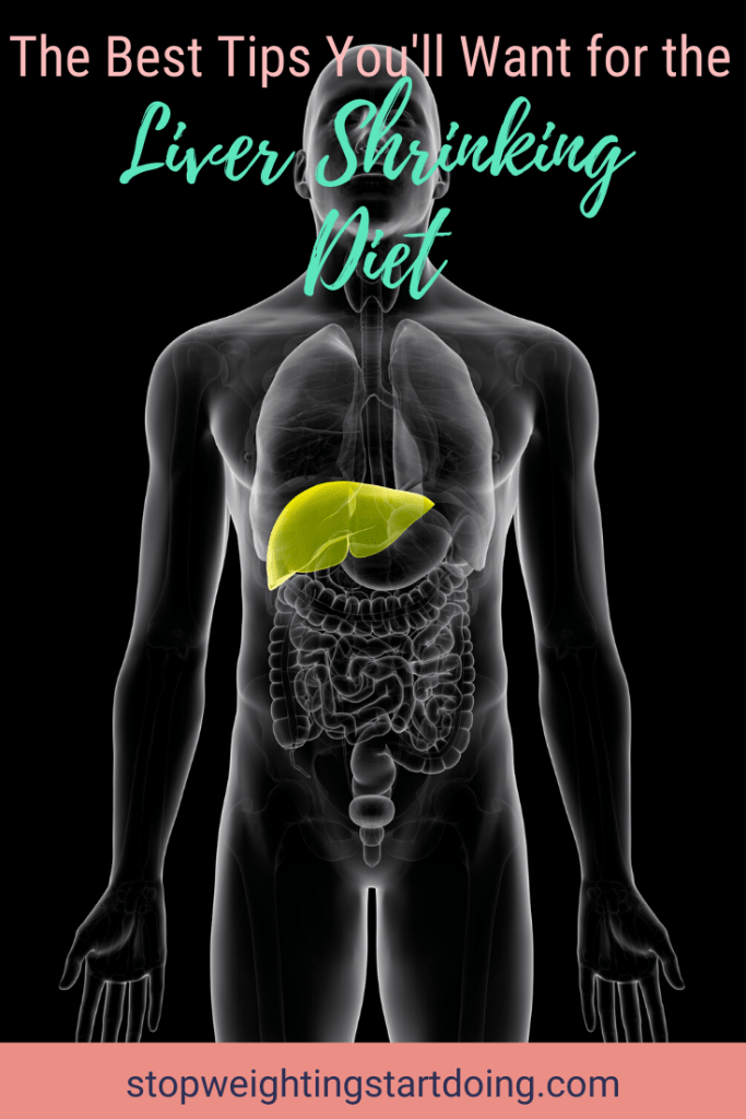 An x-ray type image of the body with the liver highlighted in yellow. The Best Tips You'll Want for The Liver Shrinking Diet | 9 Tips You'll Need | Image | liver reducing diet, liver shrinking diet cheating