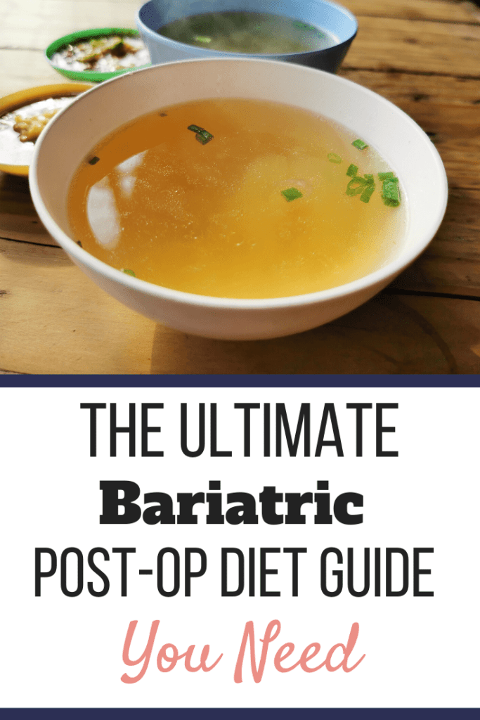 A bowl of chicken broth in a white bowl on a table. | The Ultimate Bariatric Post-Op Diet Guide You Need | Progressive Diet | Graphic | Grocery Lists, high protein foods, bariatric liquid diet
