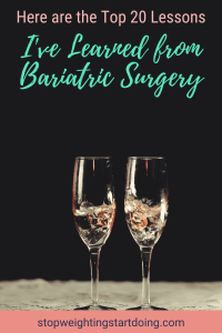 Two champagne flutes with champagne against a black background. Here Are the Top 20 Lessons I've Learned from Bariatric Surgery | Graphic | bariatric surgery, post-op, gastric sleeve