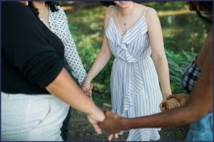 Women joining hands to support each other | | Bariatric Support Groups: What You Need to Know | In Person or Online | Graphic | bariatric support group, bariatric forums, bariatric support group ideas