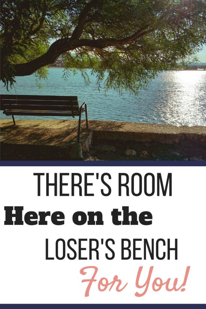 A bench shaded by a tree in front of a pond. | There's Room Here on the Loser's Bench For You! | Welcome Aboard! | Graphic | Stop Weighting, Start Doing, weight loss, bariatric surgery, loser bench