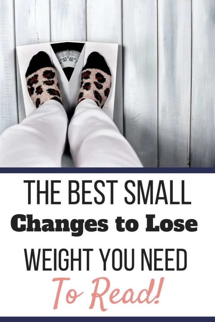 A person in leopard socks standing on a scale. |The Best Small Changes To Lose Weight You Need to Read! | Get Started | Graphic | weight loss, lifestyle changes, weight loss programs