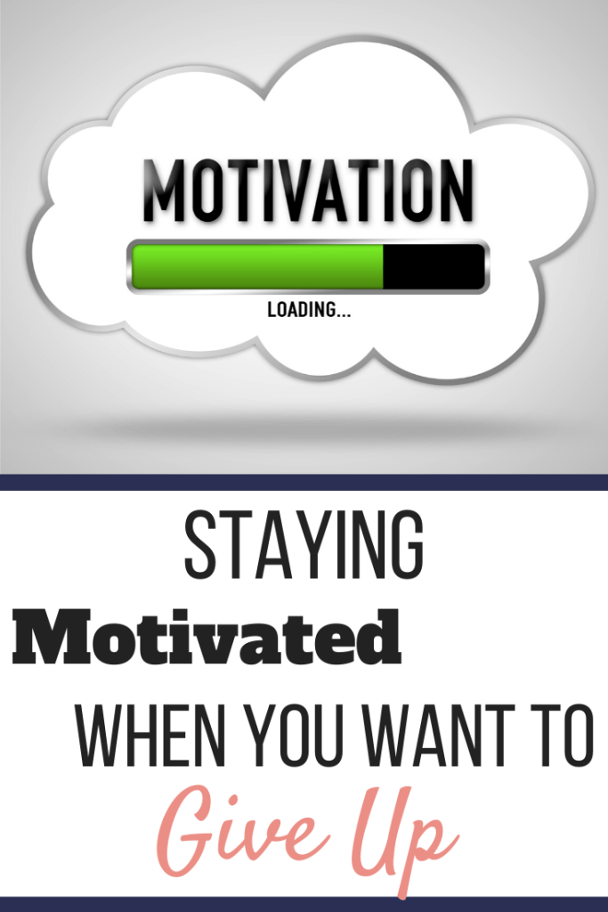 The word Motivation in a thought cloud with a green loading bar that is 75% full. Staying Motivated When You Want to Give Up | How to Stay Focused | Graphic | motivation when you want to give up, staying motivated to lose weight