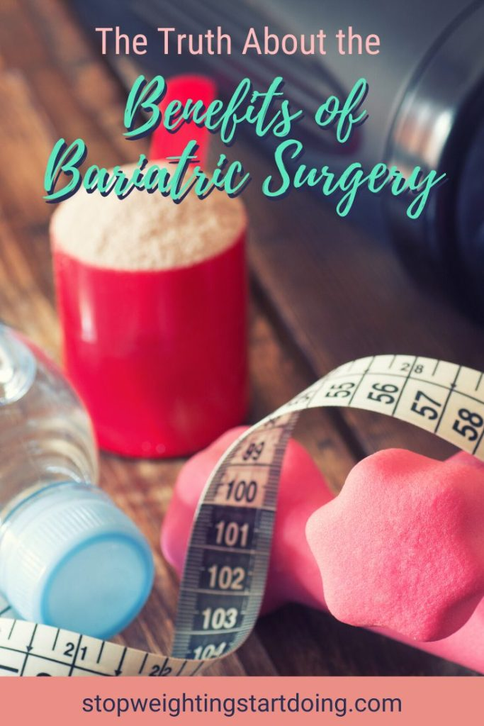 A red scoop of protein powder on a table next to a shaker bottle, bottle of water, tape measure, and pink hand weights. The Truth About the Benefits of Bariatric Surgery | Transform Your Life | Graphic | pros and cons of bariatric surgery, benefits of gastric sleeve surgery, gastric bypass
