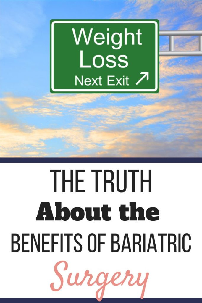 A highway exit sign that reads Weight Loss Next Exit with an arrow pointing right against a blue, partially cloudy sky. The Truth About the Benefits of Bariatric Surgery | Transform Your Life | Graphic | pros and cons of bariatric surgery, benefits of gastric sleeve surgery, gastric bypass