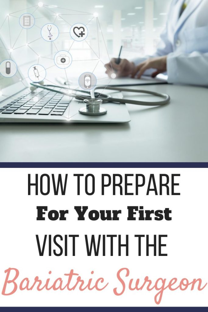 A doctor filling out paperwork next to a stethoscope and laptop. How to Prepare For Your First Visit with the Bariatric Surgeon | Expectations | Graphic | bariatric surgery pre-op appointment, how to prepare for a bariatric consult, bariatric surgery timeline