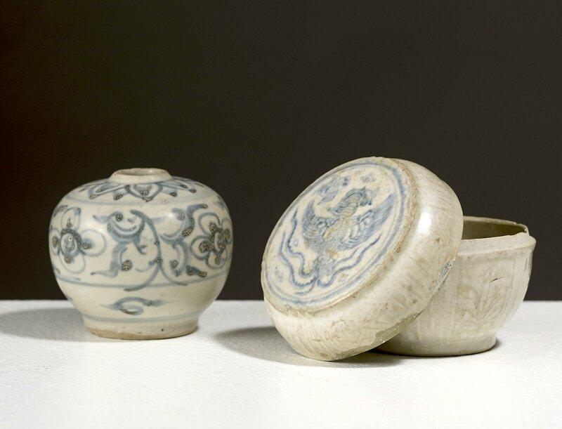 Petit pot et une boîte à couvercle, dynastie des Lê, 16° siècle