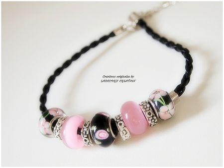 bracelet noir et rose perles pandora style 2
