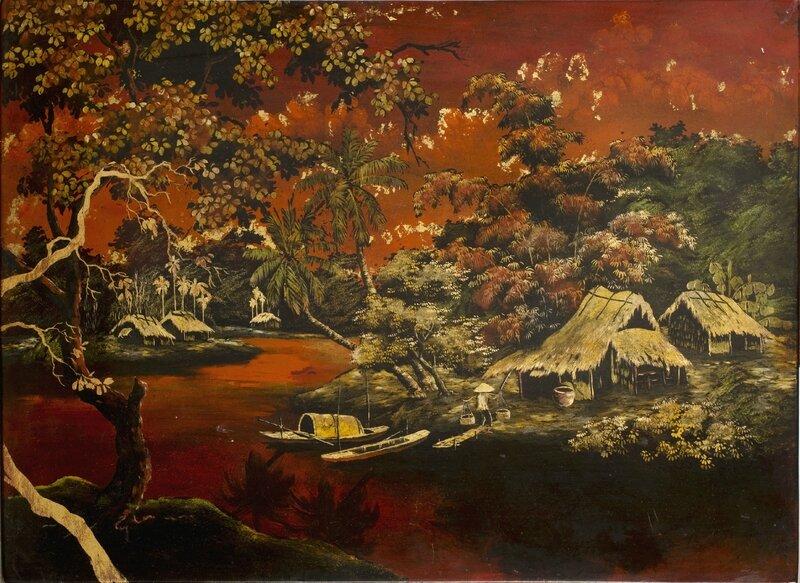 Laque sur panneau de bois représentant une rivière et des pagodes au crépuscule, Vietnam, XXe siècle