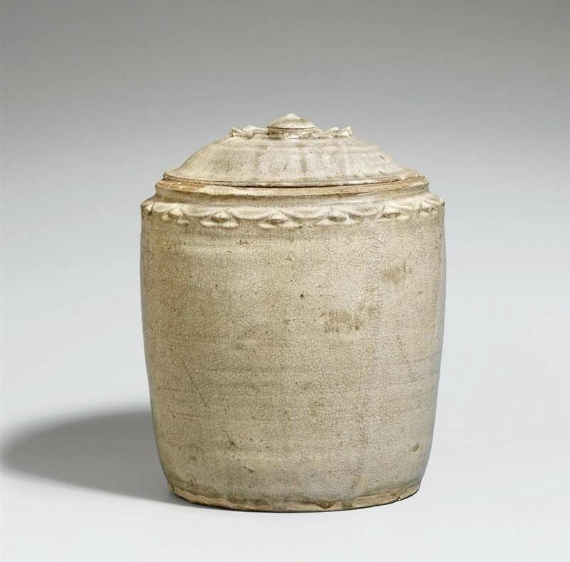 A light-green glazed lidded jar, Vietnam, 10th-12th century