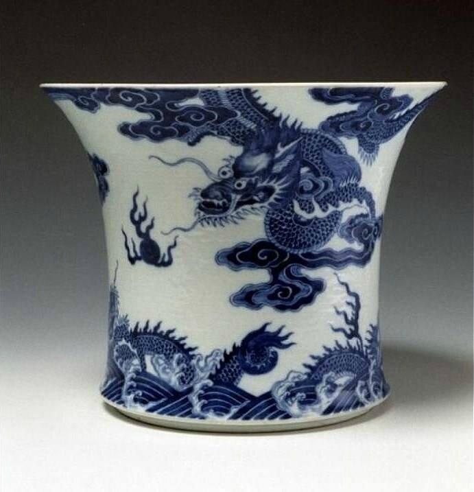 Pot à pinceaux, Chine, porcelaine d'exportation pour le Vietnam, 18e siècle (ca