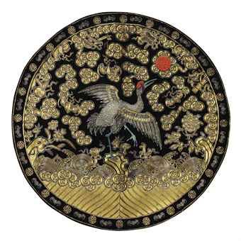 an_embroidered_satin_circular_womans_rank_badge_of_a_crane_19th_centur_d5477068h