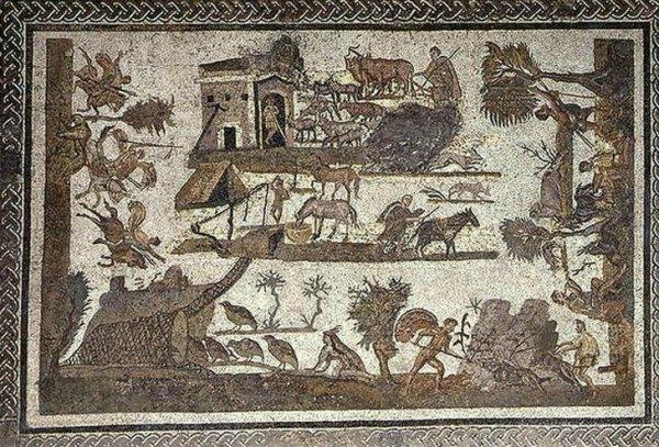 scène de campagne oudhna Tunisie - Villa Laberii - Musée du Bardo