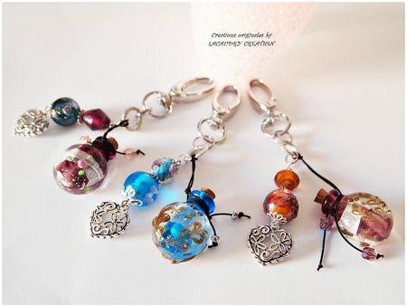 Collection bijoux de sac fiole a parfum mauve, bleu, mordoré lacaudry création