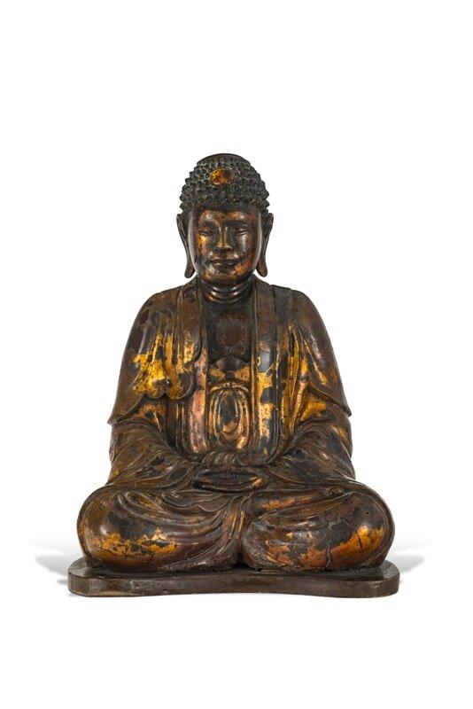 Bouddha assis en bois laqué, Vietnam