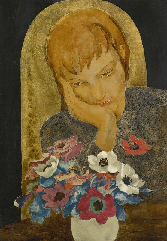 Alix Aymé (1894 - 1989), Jeune fille avec anémones (Young Lady with Anemoes), circa 1940s