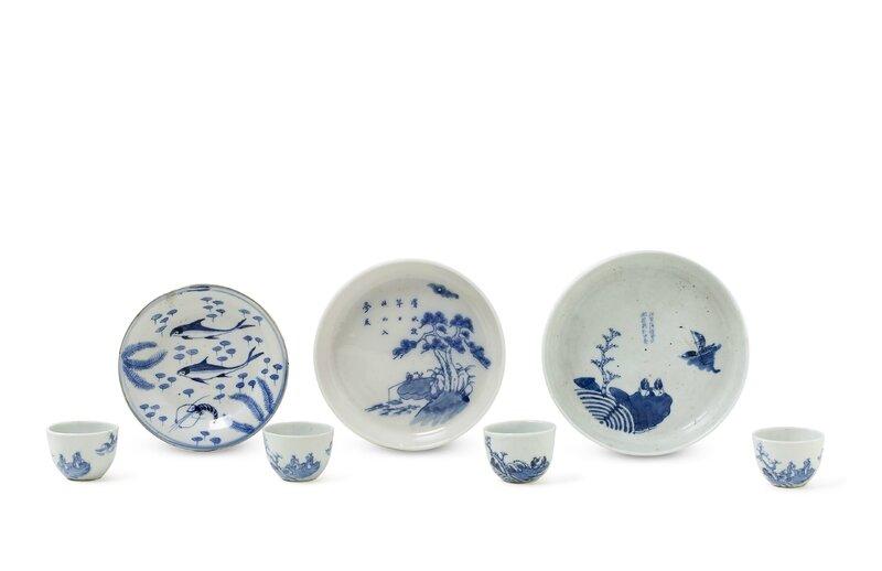 Ensemble de porcelaines à décor en Bleu de Huê, Chine pour le Vietnam, XIXe siècle