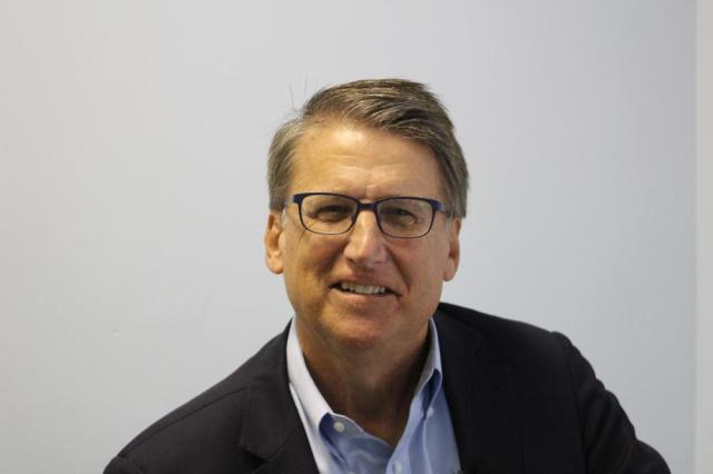 In this Saturday, Sept. 25, 2021, photo, Republican U.S. Senate candidate Pat McCrory poses for a photo in Mount Airy, N.C. (AP Photo/Bryan Anderson)